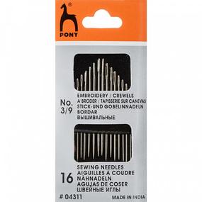 Иглы для вышивания и шитья PONY 04311 размер 3-9 уп 16 шт ушко иглы простое фото