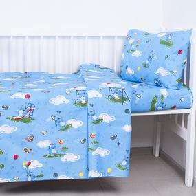 Постельное белье в детскую кроватку 315/1 Слоники с шариками голубой с простыней на резинке фото