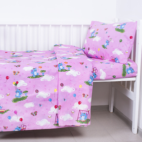 Постельное белье в детскую кроватку 315/2 Слоники с шариками розовый с простыней на резинке фото