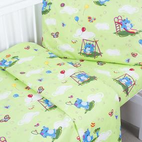 Постельное белье в детскую кроватку 315/3 Слоники с шариками зеленый с простыней на резинке фото