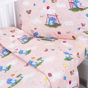 Постельное белье в детскую кроватку 315/4 Слоники с шариками персиковый с простыней на резинке фото