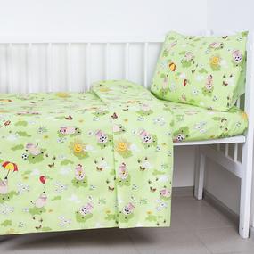 Постельное белье в детскую кроватку 317/3 Овечки зеленый с простыней на резинке фото