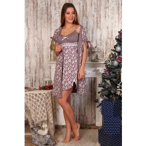 Комплект халат Кимоно и сорочка Царица бледно пурпурный А20 р 42 фото