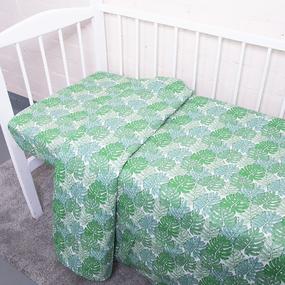 Постельное белье в детскую кроватку из поплина 2008/1 Монстера с простыней на резинке фото