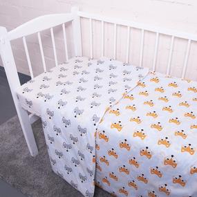 Постельное белье в детскую кроватку из поплина 1824/1+1824/2 с простыней на резинке фото