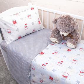 Постельное белье в детскую кроватку из поплина 1823/1+388/17 с простыней на резинке фото