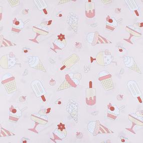 Ткань на отрез бязь плательная 150 см 1983/1 Мороженки цвет персик фото