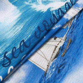 Ткань на отрез вафельное полотно набивное 150 см 19340/1 Морской бриз фото