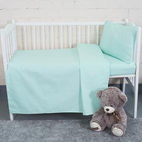 Постельное белье в детскую кроватку из бязи цвет фисташка фото
