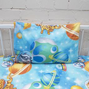 Постельное белье в детскую кроватку из перкаля 13055/1 Астронавты с простыней на резинке 160/80/15 фото