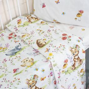 Постельное белье в детскую кроватку 11438/1 Лесные друзья поплин с простыней на резинке фото