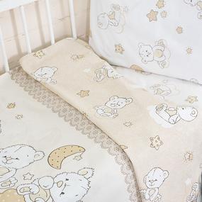 Постельное белье в детскую кроватку из поплина 11350/1 Медвежата с простыней на резинке фото