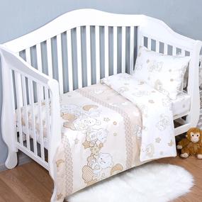Постельное белье в детскую кроватку 11350/1 Медвежата поплин с простыней на резинке фото