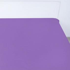 Простынь на резинке поплин цвет черника 90/200/20 см фото
