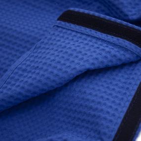 Вафельная накидка на резинке для бани и сауны Премиум женская с широкой резинкой цвет 556-3 василек фото