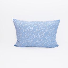 Подушка Лебяжий пух 215 Ромашки цвет голубой серебро 50/70 фото