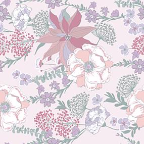 Ткань на отрез поплин 220 см 115 г/м2 9119 Цветы на розовом основа фото