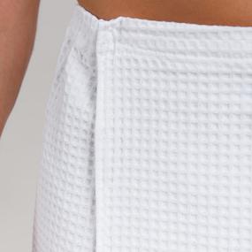 Вафельная накидка на резинке для бани и сауны Премиум мужская с широкой резинкой цвет белый фото