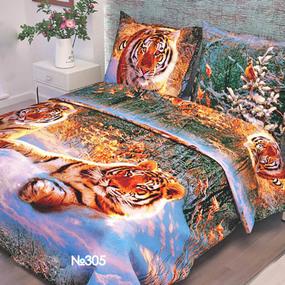 Ткань на отрез бязь о/м ГОСТ 150 см 305/1 Уссурийский тигр фото