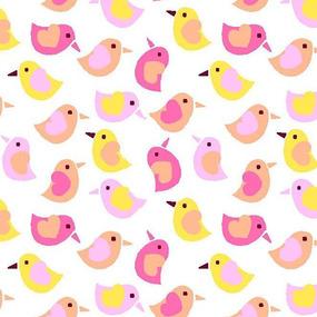 Ткань на отрез фланель 90 см 95033 Птички цвет розовый фото