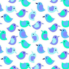 Ткань на отрез фланель 90 см 95032 Птички цвет голубой фото