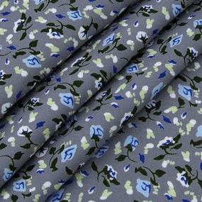 Ткань на отрез штапель 150 см 20015 Голубые цветы на сером фото