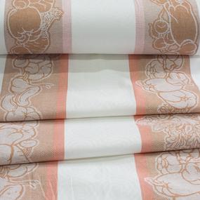 Ткань на отрез полулен полотенечный 50 см Жаккард Овощи 2 оранжевый фото
