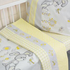 Постельное белье в детскую кроватку из бязи 8069/1 Кролик желтый фото