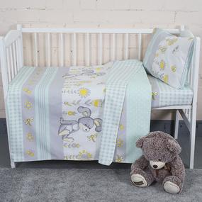 Постельное белье в детскую кроватку из бязи 8069/2 Кролик мята фото