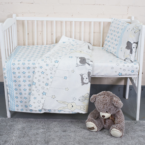Постельное белье в детскую кроватку из бязи 8086/2 Лесные друзья бирюза фото
