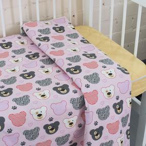 Пододеяльник бязь 120 гр/м2 детский 1968/2 Медвежата цвет розовый 145/110 см фото