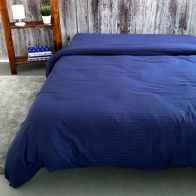 Пододеяльник из страйп-сатина полоса 1х1 120 гр/м2 191/2 цвет синий, 1,5 спальный фото