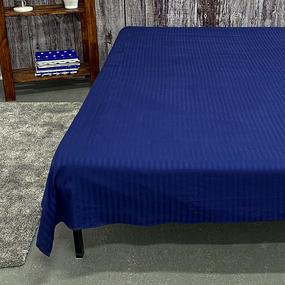 Простыня страйп-сатин полоса 1х1 120 гр/м2 191/2 цвет синий 1.5 сп фото