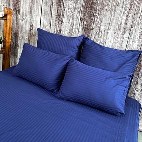 Простыня страйп-сатин полоса 1х1 120 гр/м2 191/2 цвет синий Евро фото