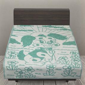 Одеяло детское байковое жаккардовое 100/140 см щенки цвет зеленый фото
