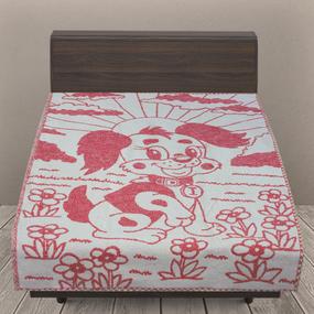 Одеяло детское байковое жаккардовое 100/140 см щенки цвет красный фото