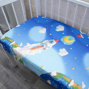 Простыня перкаль детский 13095/1 Пластилиновый космос 110/150 см фото