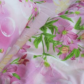Постельное белье из бязи 4605/2 Фиалка розовый 1.5 сп с 1-ой нав. 70/70 фото
