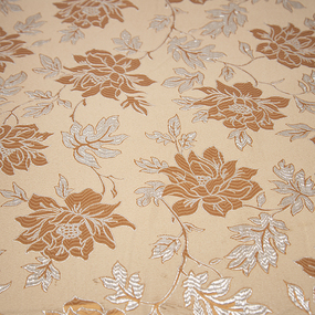Портьерная ткань с люрексом 150 см на отрез H627 цвет 1 темно-бежевый цветы фото