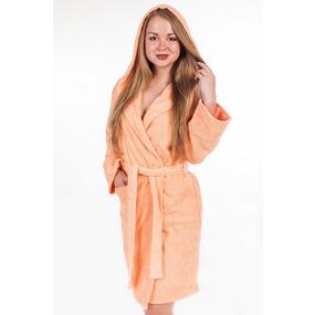 Халат женский махровый с капюшоном персиковый р 44 фото