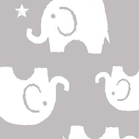 Ткань на отрез интерлок пенье Слоники серые 28-18 фото