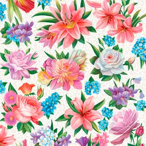 Полотно вафельное 50 см набивное арт 60 Тейково рис 5574 вид 1 Вальс цветов фото