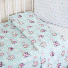 Постельное белье в детскую кроватку из перкаля 13177/1+13167/1 фото