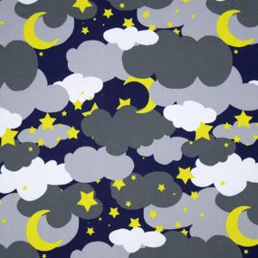 Ткань на отрез интерлок R4169-V1 Звездное небо цвет серый фото