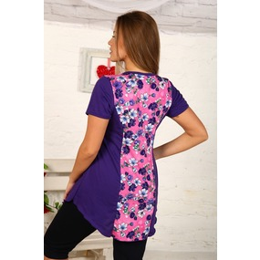Туника Даша кулирка фиолетовые цветы на розовом В19 р 48 фото