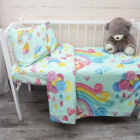 Постельное белье в детскую кроватку из перкаля 13078/1+13079/1 с простыней на резинке 160/80/15 фото