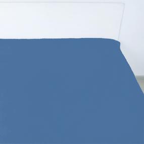 Простынь на резинке поплин цвет индиго 140/200/20 см фото