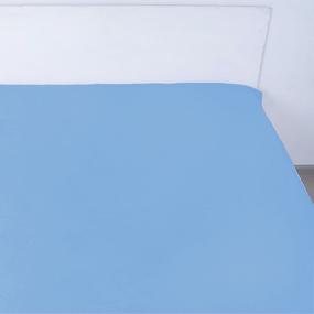 Простынь на резинке поплин цвет лазурный 140/200/20 см фото
