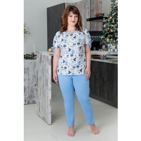 Костюм (футболка+брюки) 0749-16 цвет Голубой р 44 фото