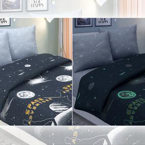 Мерный лоскут поплин 220 см 826-1 Галактика основа (светится в темноте) 3,6 м фото